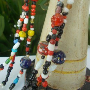Millefiori Glass Necklace, Multi Strand Murano